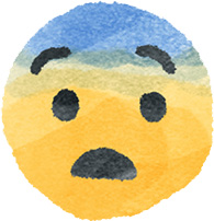 A concerned emoji face with sweat on its brow.